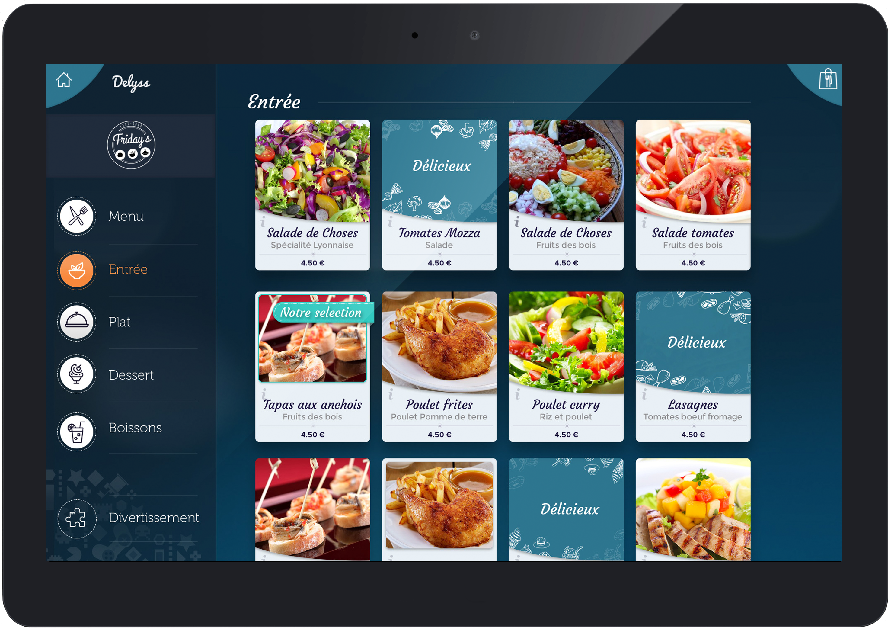 tablette menu restaurant