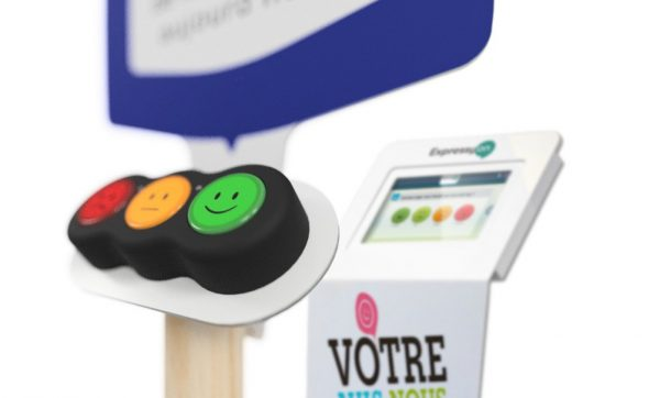 Feedback survey smiley kiosk with buttons
