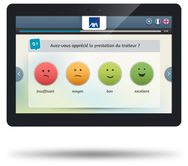 smiley satisfaction survey on tablet
