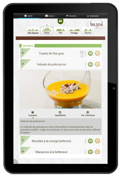 Touch menu for restaurants