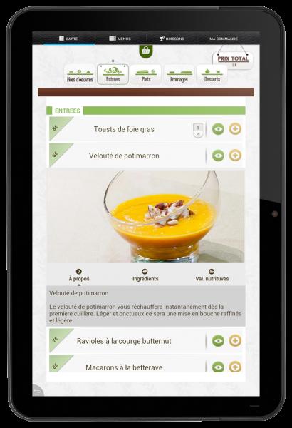 menu tactile restaurant visuel
