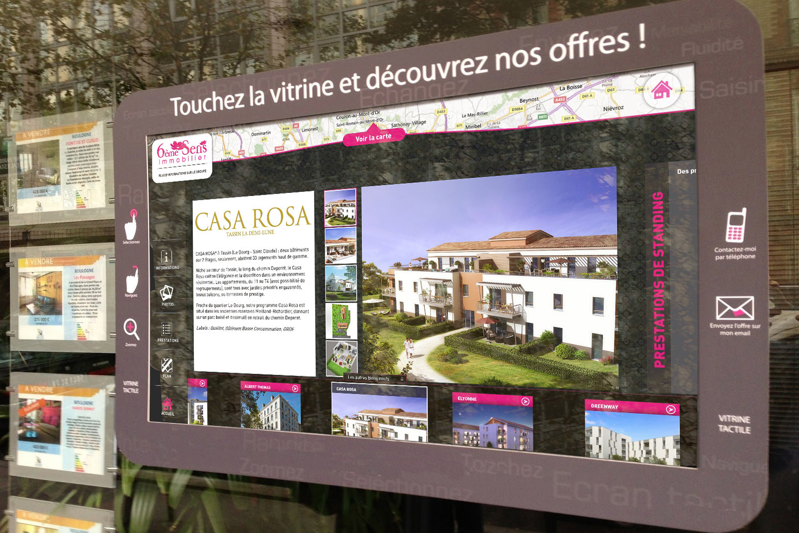 vitrine tactile agence immobilière